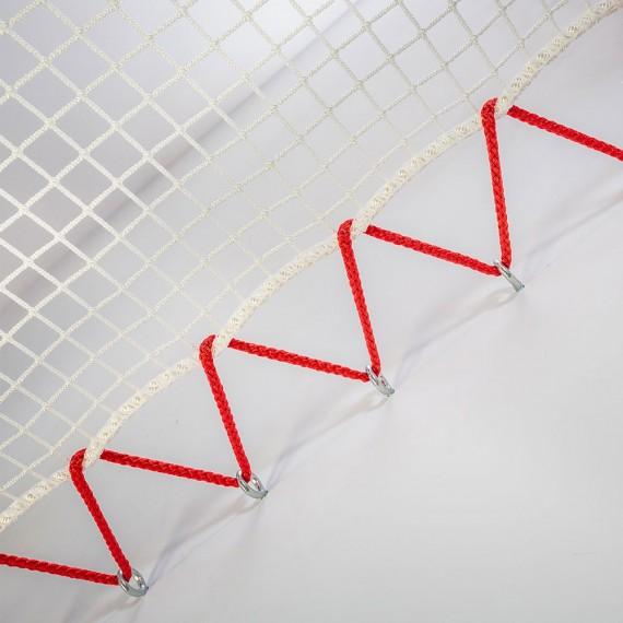 Filet d'habitation mise en tension avec un cordage 10 mm rouge