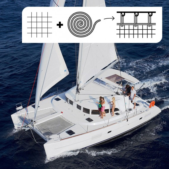 PACK Trampoline for Lagoon 380 catamaran + the tension rope for independent lacing