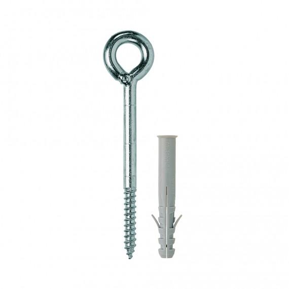 SET : 12X120 eye screw + 14X100 plug for concrete