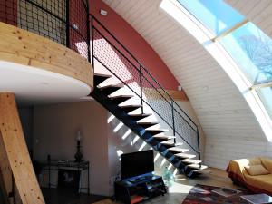 Rambarde d'escalier en filet noué