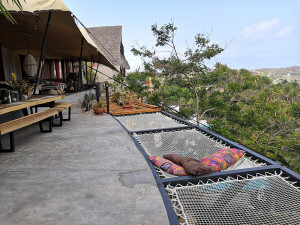 Terrace with view extended with 3 catamaran nets