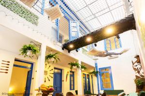 The patio of the Granda Hostel in Bogota