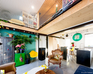 Giant catamaran net hammock in an architect's house