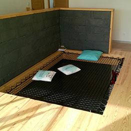 Petit espace détente réalisé avec un filet d'habitation